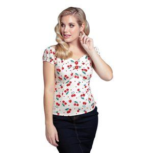 Dolores 50's Cherry Print Top in Ivory